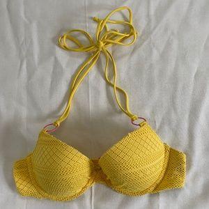 Aerie American Eagle Yellow Mesh Bikini Top 34B
